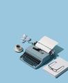 Vintage typewriter header and blank sheets - PhotoDune Item for Sale