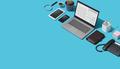 Corporate business desktop with laptop - PhotoDune Item for Sale