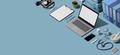 Doctor desktop with medical equipment - PhotoDune Item for Sale