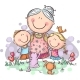 Everyone Loves Granny. Grandmother & Grandchilren - GraphicRiver Item for Sale