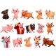 Set of Joyful Pigs on White - GraphicRiver Item for Sale