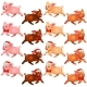 Set Runing Pigs with Bow and Cap - GraphicRiver Item for Sale
