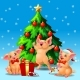 Three Yellow Pigs Ang Fir Tree on Blue - GraphicRiver Item for Sale