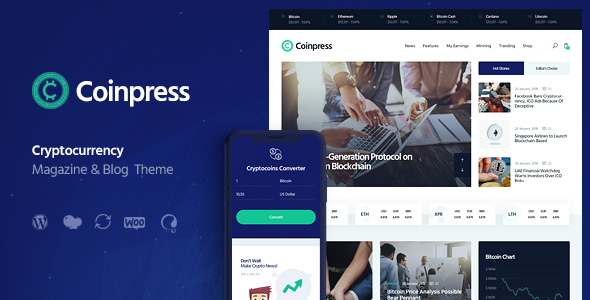 Coinpress | ICO Cryptocurrency Magazine & Blog WordPress Theme