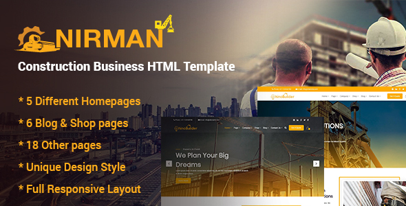 Nirman – Construction Business HTML Template