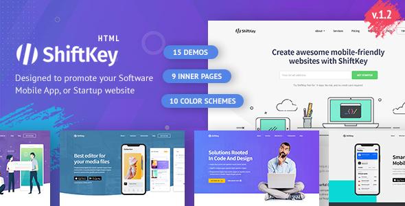 ShiftKey – Software & Startup Premium Landing Page Template