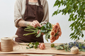 Female florist making beautiful bouquet from living coral color roses on a light background. Process - PhotoDune Item for Sale