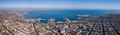 Panorama of the city of Odessa and the sea with a port against a blue sky on a sunny day. Aerial - PhotoDune Item for Sale