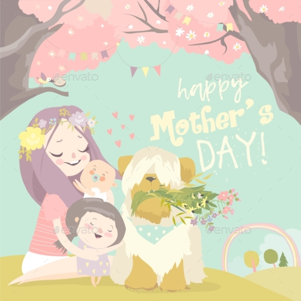 Happy Woman and Children in the Blooming Spring
