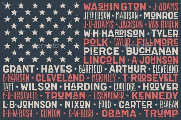 USA Flag of President Names