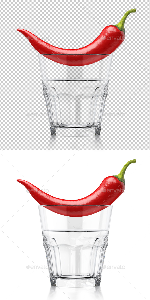 Whiskey Clear Glass with Red Chilli