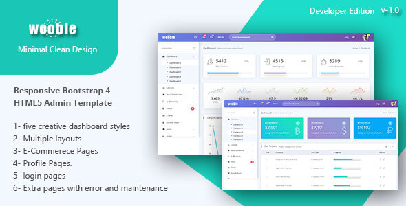 Wooble –  A Minimal eCommerce and Corporate Admin Template