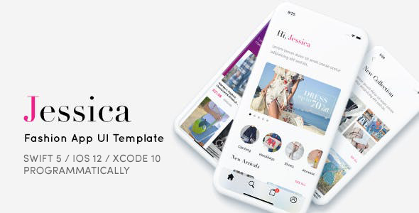 Jessica, Fashion App UI Template - Programmatically Download