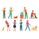People with Pets - GraphicRiver Item for Sale