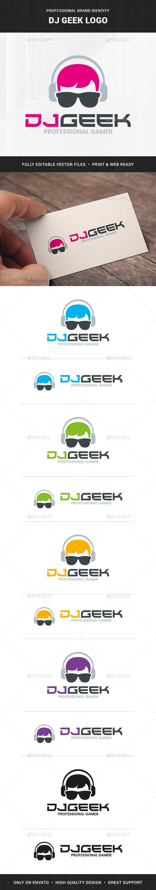 DJ Geek Logo Template