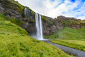 view of beautiful waterfall Seljalandsfoss in summer, south Iceland - PhotoDune Item for Sale