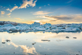 Scenic view of icebergs in Jokulsarlon glacier lagoon, Iceland, at sunset - PhotoDune Item for Sale