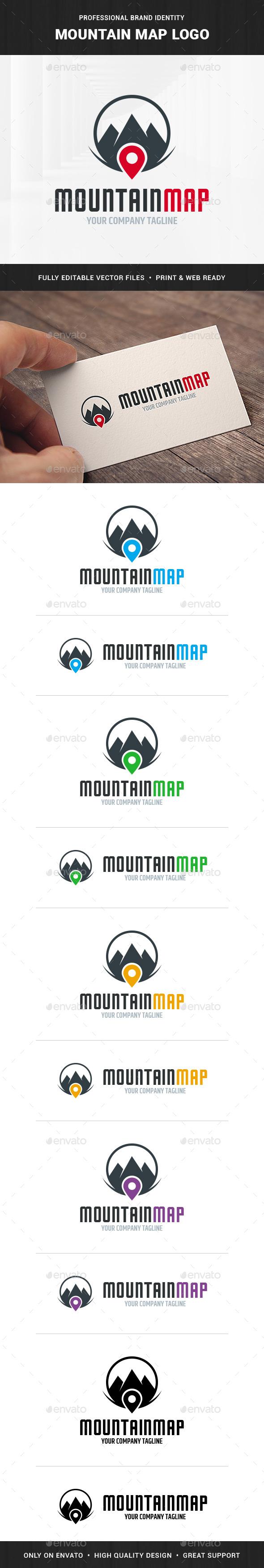 Mountain Map Logo Template