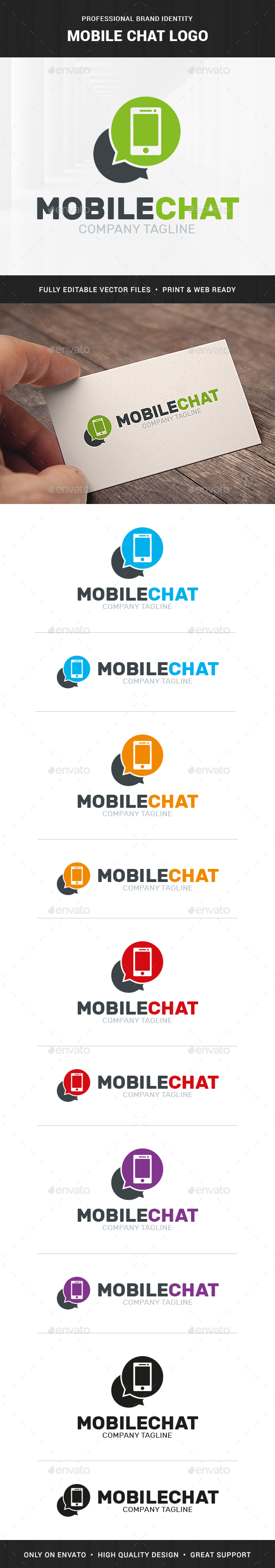 Mobile Chat Logo Template