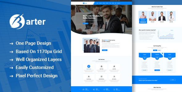 Barter - One Page Business PSD Template