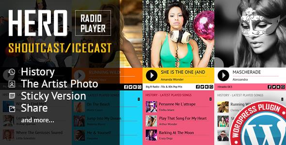 Hero - Shoutcast and Icecast Radio Player With History - WordPress Plugin Download