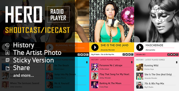 Hero - Shoutcast i Icecast Radio Player z historią