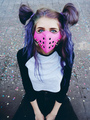 Young punk woman wearing a pink mask - PhotoDune Item for Sale