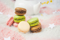 Delicious macarons with a tea in a teapot - PhotoDune Item for Sale