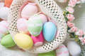 A beautiful and colorful close-up flat of easter eggs in plain c - PhotoDune Item for Sale