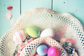 A beautiful and colorful close-up flat of easter eggs in plain p - PhotoDune Item for Sale