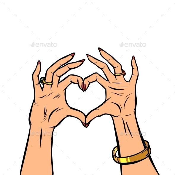 Woman Hands Gesture Heart Love Romance Valentine