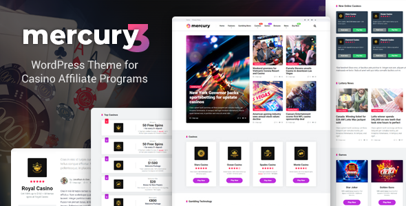 Mercury - Gambling News & Casino Affiliate WordPress Theme