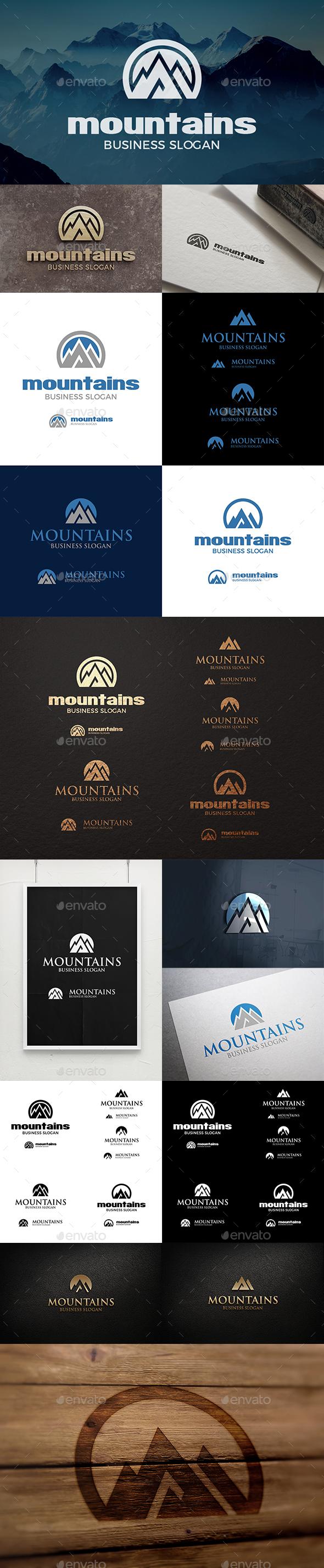 Mountain Logo - Mountains Peak Logo Templates