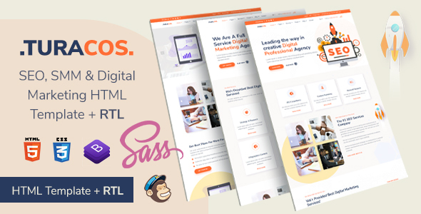 Turacos - Digital Agency/SEO Agency HTML Template + RTL Supported