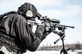 Equipped police SWAT sniper shooting with rifle - PhotoDune Item for Sale