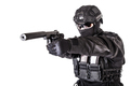 Studio portrait of SWAT officer aiming with pistol - PhotoDune Item for Sale