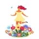 Vector Template with Happy Woman and Flowers - GraphicRiver Item for Sale