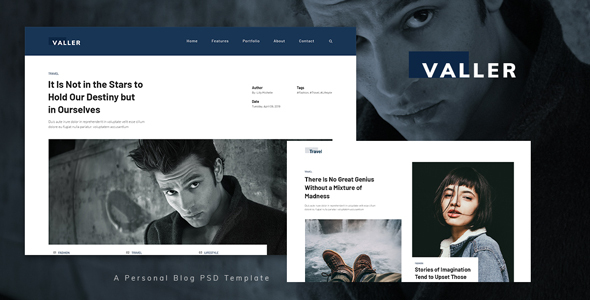 Valler - Personal Blog PSD Template