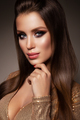 Beautiful woman with professional make up. Gold dress - PhotoDune Item for Sale