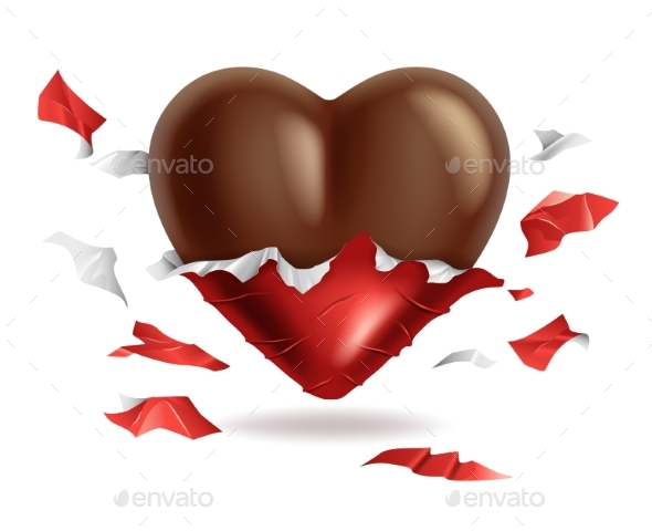Chocolate Heart in Torn Red Foil Pack Valentines
