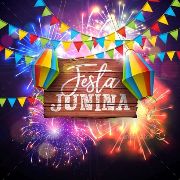 Festa Junina Illustration with Flags and Paper