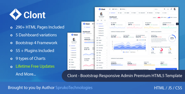 Clont – Bootstrap Webapp Responsive Dashboard Simple Admin Panel Premium HTML5 Template