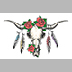 Bull Skull with Feathers and Flowers - GraphicRiver Item for Sale