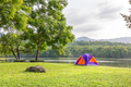 Dome tent camping at lake side _-3 - PhotoDune Item for Sale