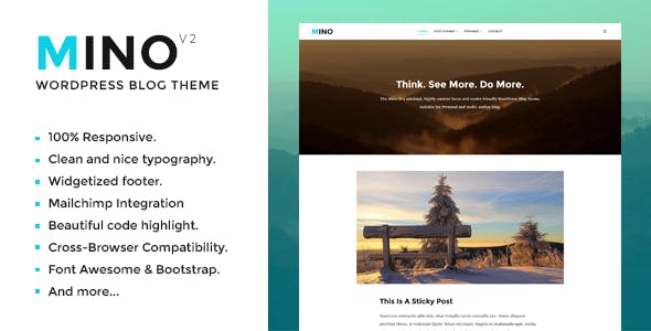 Mino Blog – Content Focused WordPress Blog Theme Free Download