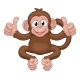 Monkey Cartoon Animal Giving Double Thumbs Up - GraphicRiver Item for Sale