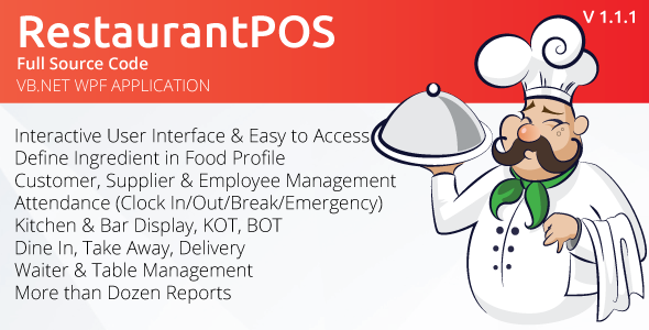 RestaurantPOS - VB.NET WPF Application With Free ASP.NET Web extension