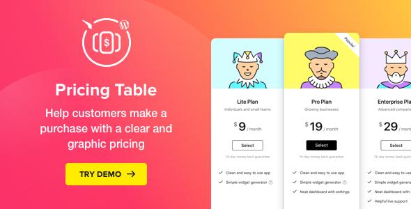WordPress Pricing Table PluginPrice : $25