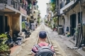 Traveler in Hanoi Train Street - PhotoDune Item for Sale