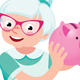 Senior Woman Holding a Piggy Bank for Money - GraphicRiver Item for Sale